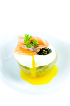 Artichoke Heart, Salmon Cream, Poached Egg, Smoked Scottish Salmon, Osetra caviar