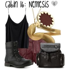 Cabin Nemesis -- The Heroes of Olympus Casual Cosplay, Cosplay Outfits, Edgy Outfits, Girl Outfits, Hades Percy Jackson, Percy Jackson Outfits, Fandom Outfits, Themed Outfits, Heroes Of Olympus