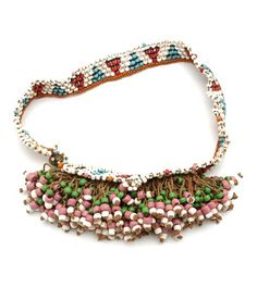 Africa | Beaded belt from Lesotho. 20th century | Glass beads, copper and cord.