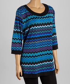 Another great find on #zulily! Blue Scallop Stripe Scoop Neck Tunic - Plus #zulilyfinds
