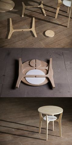 Smart people use smart furniture. This smart table is called Nort, can be easily assembled by 3 pieces of wood