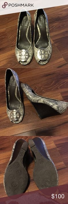 Tory Burch Snake Skin Peep Toe Wedge Pre-Loved Tory Burch, very worn but  still have allot of life left in them. Marks on side, worn in front,  reflected in ...