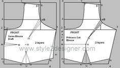 Sewing Blouse Types of Princess Cut Blouse depend on the dart line starts from Armhole, neckline, shoulder and waist. Princess cut draft from Basic sareeblouse draft. Saree Blouse Patterns, Designer Blouse Patterns, Dress Sewing Patterns, Sari Blouse, Collar Blouse, Clothing Patterns, Princess Cut Blouse Design, Blouse Tutorial, Princess Line