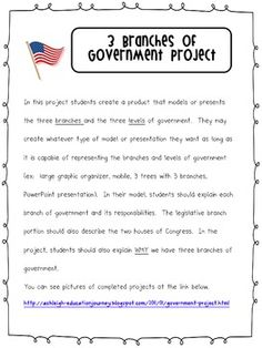 This is a one page sort on the 3 branches of government. This ...