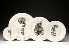 dinnerware set: Ferns by Laura Zindel Design Fiddle Fern, Wood Fern, Fern Tattoo, Fern Frond, Simple Furniture, Pottery Sculpture, Gifts For Nature Lovers, Teller, Ferns