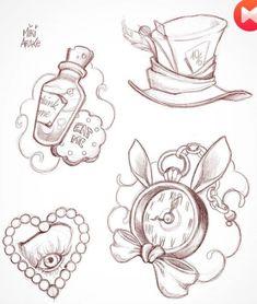 Alice in Wonderland Tattoo Designs - Alice in Wonderland Tattoo Designs - . - Alice in Wonderland Tattoo Designs – Alice in Wonderland Tattoo Designs – # - Alice In Wonderland Tattoo Sleeve, Alice In Wonderland Drawings, Alice And Wonderland Quotes, Alice In Wonderland Watch, Tattoo Sketches, Drawing Sketches, Tattoo Drawings, Cool Drawings, Drawing Ideas