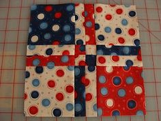 "Disappearing 4 patch tutorial.  Uses 5"" charm squares.  There are heaps of different possibilities for this quilt.  2 or 3 colours or scrappy.  Really fun and easy."