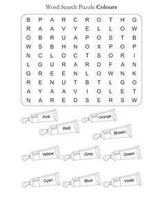 free coloring pages of colors word find English Worksheets For Kids, English Lessons For Kids, Kids English, English Activities, English Words, Learn English, Spanish Lessons, Learn French, French Lessons