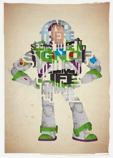 Buzz Lightyear Toy Story - Cartazes tipográficos com personagens do cinema