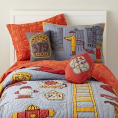 Trevor's ready to move to a big boy bed.  He loves fire trucks.  I love this pattern from Land of Nod since it's one he can grow up with, not too childish.  The colors are classic and blend well together.  http://www.landofnod.com/fire-cadet-bedding/f10560