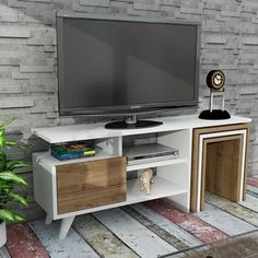 Furny Home TV-meubel Nature – Wit, Walnoot – Koop online in de VAE. Alcove Tv Unit, Corner Tv Unit, Television Stands, Diy Tv Stand, Tv Furniture, Home Tv, Wall Mounted Tv, Diy Cabinets, My Living Room