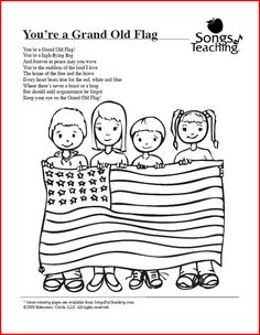 You're a Grand Old Flag: Free Printable Coloring Page from Songs ...