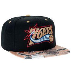 d0d4bd6733b Men s Mitchell   Ness Allen Iverson Black Gold Philadelphia 76ers Snapback  Adjustable Hat