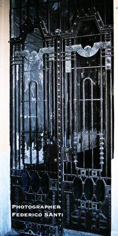 Deco cast and wrought iron entrance security gate. Circa 1910.Budapest Hungary