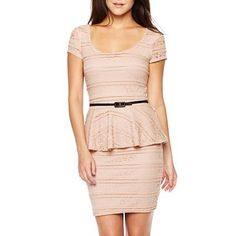 Love Reigns Lace Peplum Belt Dress - jcpenney, possible work holiday party dress with gold belt, accessories, shoes