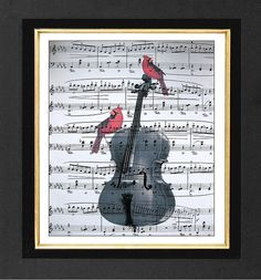 Red Cardinals Cello Music  Print ORIGINAL ARTWORK by sherryannshop