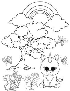 care bears coloring pages birthday bear beanie   Print midnight beanie boo coloring pages   embroidery ...