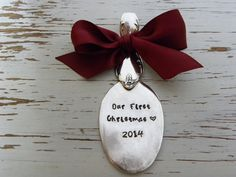 Spoon ornament Our First Christmas 2014 - your choice of colors - stars - silver plated - antique - vintage - burgundy ribbon