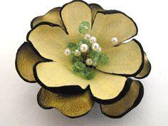 Flower brooch pin. Leather by julishland on DeviantArt