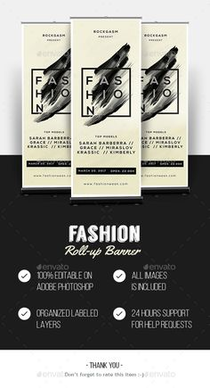 "Buy Fashion Roll-up Banner by Graphr on GraphicRiver. ""Fashion"" Roll-up Banner Specification CMYK Color Mode 300 DPI Resolution Size x With Bleeds Features Fo. Best Resume Template, Invoice Template, Banner Template, Flyer Template, Pull Up Banner Design, Pop Up Banner, Rollup Design, Exhibition Banners, Web Design Packages"