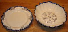 Antique Leeds Type Blue Feather Edge Pearlware Reticulated Bowl & Tray, c 1790