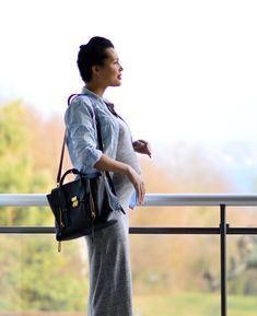 Today, I created an outfit out of my regular clothes- denim shirt (that I can't close anymore) and a maxi grey dress. Maternity Fashion, Denim Shirt, Gray Dress, Sling Backpack, Messenger Bag, Personal Style, Satchel, Grey, How To Wear