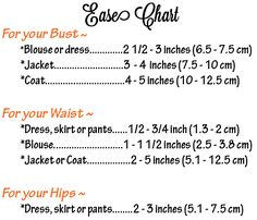 Ease Chart.  This is the best article I've found on how to measure pattern pieces and make adjustments.  http://www.afashionablestitch.com/tag/2-in-1-sewalong/