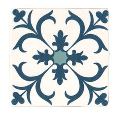 Fusion Blue & White Satin Patterned Ceramic Wall Tile, Pack of 25, (L)140mm (W)140mm | Departments | DIY at B&Q