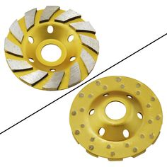 """Ocr TM 4"""" Concrete Turbo Diamond Grinding Cup Wheel for Angle Grinder 12 Segs Heavy Duty (Yellow 12segs B). This aggressive turbo cup grinding wheel provides for very fast cutting action on masonry, stone and concrete. Large grinding segments with heat treated cup design. Suitable for use on grinding on marble, tile, concrete and rock. Use Dry/Wet to smooth Concrete or Field Stone. Heavy Duty Contractor PRO Grade 4 Inch Grinding Wheel."""