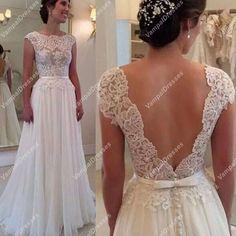 180.00$ Watch here - http://vitjk.justgood.pw/vig/item.php?t=3l1njr30813 - White Cap Sleeve Lace Bodice Open Back Chiffon Prom Dress With Belt