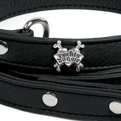 Rockin' Doggie Black Leather Leash
