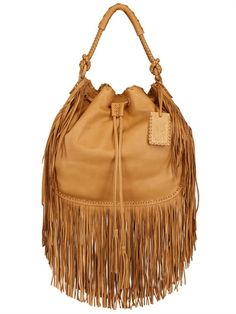RALPH LAUREN - MULTI FRINGES GRAINED LEATHER HOBO BAG - LUISAVIAROMA - LUXURY SHOPPING WORLDWIDE SHIPPING - FLORENCE