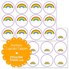 Free Rainbow Cupcake Toppers