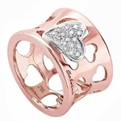 Pink gold and diamond heart ring by Salvini by Amyrow