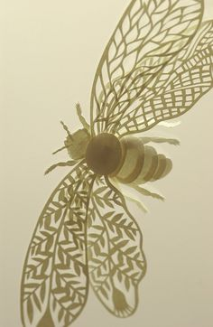 paper bee  http://elsita.typepad.com/elsita/2011/02/new-papercut-piece-in-progress.html