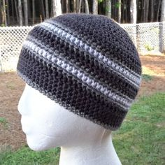 Husband-Approved Crochet Hats for Men Crochet this easy mens hat called the Stay Strong Beanie from Elk Studio Handcrafted Crochet Designs from my husband approved free crochet hat pattern roundup! Mens Beanie Crochet Pattern, Crochet Adult Hat, Crochet Scarf Easy, Crochet Scarves, Free Crochet, Knit Crochet, Crochet Hats, Crochet Hat For Men, Knitted Hat
