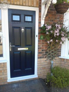 black-4-panel-2-square-global-composite-door- & Altmore Composite door design with simple clear glass in a modern ...