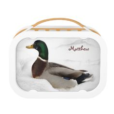 This lunch box features a mallard duck, very surprised to find himself surrounded by fluffy white snow from an early storm. His lovely green iridescent neck, yellow beak and intricately patterned wings really stand out against all that white! The image is repeated on the back. The name can be customized or removed entirely.