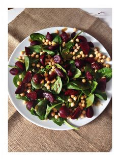Healthy salad ideas - earthy beetroot, chickpea and spinach salad, this lovely salad is delicious served alongside pies, quiche or grilled chicken and fish. Pop over for the simple recipe and dressing options now.