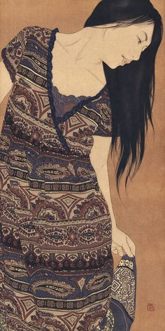 Ikenaga Yasunari, 1965. Japanese painter Ikenaga Yasunari's [池永康晟] serene and soothing portraits of modern women evoke a dreamy nostalgia through their faded golden hues and elegant floating poses. Using a Menso brush, mineral pigments, and soot ink on linen cloth, Yasunari continues the ancient tradition of Nihonga painting while simultaneously bringing modern elements to play, such as present-day clothing styles and floral textile designs. The result is both beautiful and melancholy...