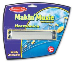 The Melissa and Doug Harmonica is ready for every musical occasion! Simply blow into the harmonica and slide it from side to side to create a beautiful melody. This durable musical instrument features a quality construction and is great for teaching melody and rhythm!
