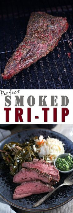 A simple recipe for smoked Tri Tip. Tri Tip is an easy and affordable alternative to smoked brisket. Smoked Tri Tip How to perfectly cook a Tri-Tip on the smoker and what wines to pair with this incredible cut of meat Traeger Recipes, Smoked Meat Recipes, Roast Recipes, Steak Recipes, Dinner Recipes, Grilling Tips, Grilling Recipes, Tri Tip Smoker Recipes, Bbq Tips