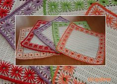 Ravelry: Presine a fiori pattern by Mirella Lilli - Crocheted potholders and with needle weaving