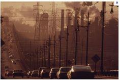 Clark Ave Bridge under full blast of the steel mills. Cleveland, Ohio