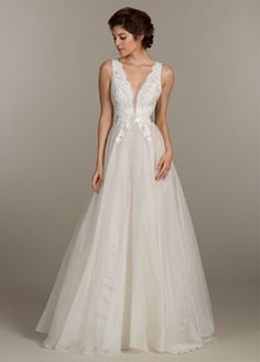 V-Neck Princess/Ball Gown Wedding Dress with Natural Waist in Alencon Lace. Bridal Gown Style Number:33083122
