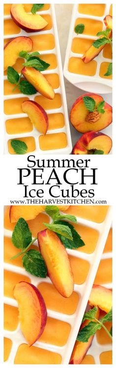 These Summer Peach Ice Cubes scream of summer and they add a delicious pop of flavor to your favorite iced tea. You can use fresh peaches when they're juicy and ripe in season, but frozen organic peaches work just as well. | clean eating | | healthy recipes | | detox recipes | | summer drink recipes | | healthy drink recipes | | fruit flavored ice cubes |
