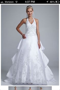 Halter top wedding dress with a beautiful ruffle look...David's Bridal site.