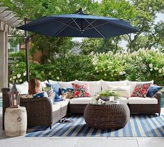 Patio Ideas Discover Build Your Own - Torrey All-Weather Wicker Roll Arm Sectional Components Espresso Pottery Barn Sectional Armless Chair & Cushion Back Patio, Backyard Patio, Backyard Landscaping, Diy Patio, Small Patio, Landscaping Ideas, Outdoor Rooms, Outdoor Living, Outdoor Decor