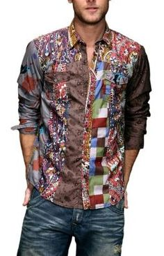 5f709b7e8ba27 Extraordinary Shirts! Make heads turn with this Desigual Signature Patch  Work Shirt. More Fashion