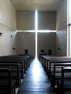 Tadao Ando. Church of the Light. Osaka, Japan. Minimalist Architecture. Powerfully focused. Master of concrete.